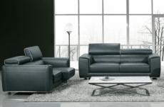 ensemble canapé 3 places et 2 places en cuir italien buffle milano, gris foncé avec leseret blanc