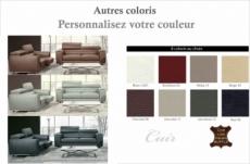 ensemble canapé 3 places et 2 places en cuir italien buffle milano, couleurs personnalisées