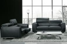 ensemble canapé 3 places et 2 places en cuir italien buffle milano, noir avec leseret blanc