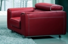 fauteuil 1 place en cuir italien buffle milano, bordeaux avec liseret blanc