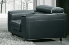 fauteuil 1 place en cuir italien buffle milano, gris foncé avec liseret blanc
