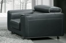 fauteuil 1 place en cuir italien buffle milano, noir avec liseret blanc