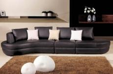 canapé d'angle en cuir italien 4/5 places mira, noir