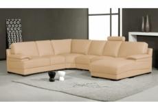 canapé d'angle en cuir italien 6/7 places mister, beige