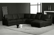 canapé d'angle en cuir italien 6/7 places mister, noir