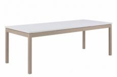 table à manger modo, rallonge débordante, blanc