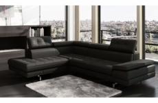 canapé d'angle en cuir italien 6 places moda, noir