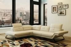canapé d'angle en cuir italien 5 places moderni, écru