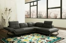 canapé d'angle en cuir prestige italien 5 places moderni, gris foncé