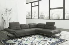 canapé d'angle copenhague en 100% tout cuir prestige luxe haut de gamme italien gris fonce (version meilleure qualité), angle droit