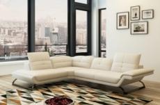 canapé d'angle en cuir italien 5 places moderni, blanc