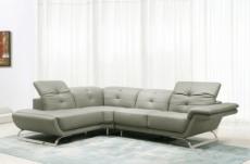 canapé d'angle en cuir italien 5 places moderni, gris clair