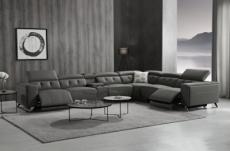 canapé d'angle avec 2 relax électriques en cuir de buffle italien de luxe, 8 places monaco, table offerte, gris foncé, angle droit