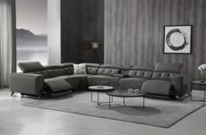 canapé d'angle avec 2 relax électriques en cuir de buffle italien de luxe,  8 places monaco, table offerte, gris foncé, angle gauche