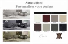 canapé d'angle avec 2 relax électriques en cuir de buffle italien de luxe, 8 places monaco, table offerte, couleur personnalisée, angle droit