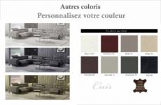 canapé d'angle avec 2 relax électriques en cuir de buffle italien de luxe,  8 places monaco, table offerte, couleur personnalisée, angle gauche