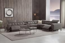 canapé d'angle avec 2 relax électriques en cuir de buffle italien de luxe, 8 places monaco, table offerte, moka, angle droit