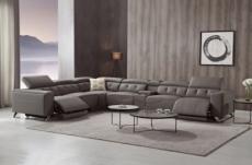 canapé d'angle avec 2 relax électriques en cuir de buffle italien de luxe,  8 places monaco, moka, angle gauche