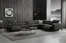 canapé d'angle avec 2 relax électriques en cuir de buffle italien de luxe, 8 places monaco, table offerte, noir, angle droit