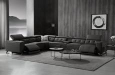 canapé d'angle avec 2 relax électriques en cuir de buffle italien de luxe,  8 places monaco, table offerte, noir, angle gauche