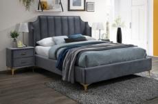 lit double en tissu velours de qualité monoti, gris foncé, avec sommier à lattes, 160x200