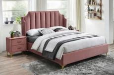 lit double en tissu velours de qualité monoti, rose pale, avec sommier à lattes, 160x200