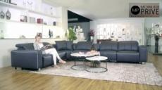 canapé d'angle relax en cuir de buffle italien de luxe avec 2 relax électriques, 7/8 places, monte carlo, gris foncé et surpiqure gris clair, angle gauche, 1 pouf offert