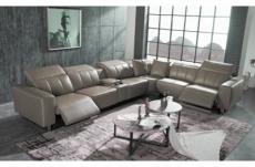 canapé d'angle relax en cuir de buffle italien de luxe double relax électrique, 7/8 places, monte carlo, couleur moka, angle droit
