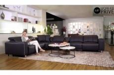canapé d'angle relax en cuir de buffle italien de luxe avec 2 relax électriques, 7/8 places, monte carlo, couleur noire, angle gauche, 1 pouf offert