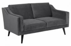canapé 2 places en tissu de qualité montero, gris foncé