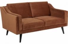 canapé 2 places en tissu de qualité montero, couleur : marron cuivre
