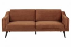 canapé 3 places en tissu de qualité montero, coluleur marron cuivre