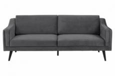 canapé 3 places en tissu de qualité montero, gris foncé