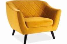 fauteuil montini 1 place en tissu de qualité, couleur curry