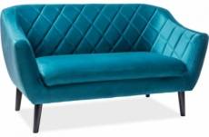 canapé montini 2 places en tissu de qualité, couleur turquoise