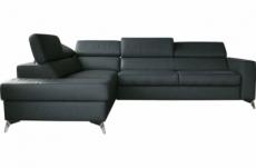canapé d'angle convertible en cuir italien de luxe 5/6 places avec coffre, monza, gris foncé, angle gauche
