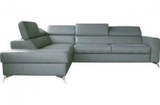 canapé d'angle convertible en cuir italien de luxe 5/6 places avec coffre, monza, gris clair, angle gauche