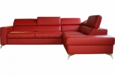 canapé d'angle convertible en cuir italien de luxe 5/6 places avec coffre, monza, rouge foncé, angle droit