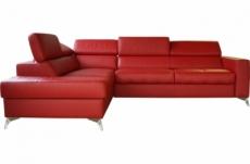 - canapé d'angle convertible en cuir italien de luxe 5/6 places avec coffre, monza, rouge foncé, angle gauche