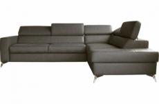 canapé d'angle convertible en cuir italien de luxe 5/6 places avec coffre, monza, taupe, angle droit