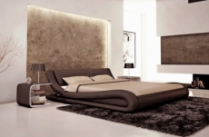lit en cuir italien de luxe dream, chocolat 140x190