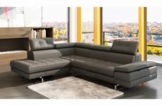 canapé d'angle en cuir italien 6 places moda, gris foncé