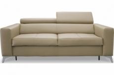 canapé 3 places convertible en cuir italien de luxe movida, beige