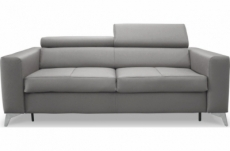 canapé 3 places convertible en cuir italien de luxe movida, gris clair