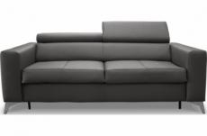 canapé 3 places convertible en cuir italien de luxe movida, gris foncé