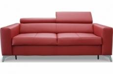 canapé 3 places convertible en cuir italien de luxe movida, rouge foncé