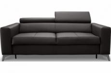 canapé 3 places convertible en cuir italien de luxe movida, noir