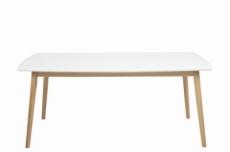 table à manger namaskar 180, bois laqué, plateau blanc