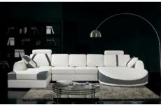 canapé d'angle en cuir italien 7/8 places oscar naples, blanc et gris foncé