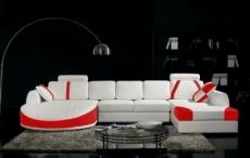 canapé d'angle en cuir italien 7/8 places oscar naples, blanc et rouge